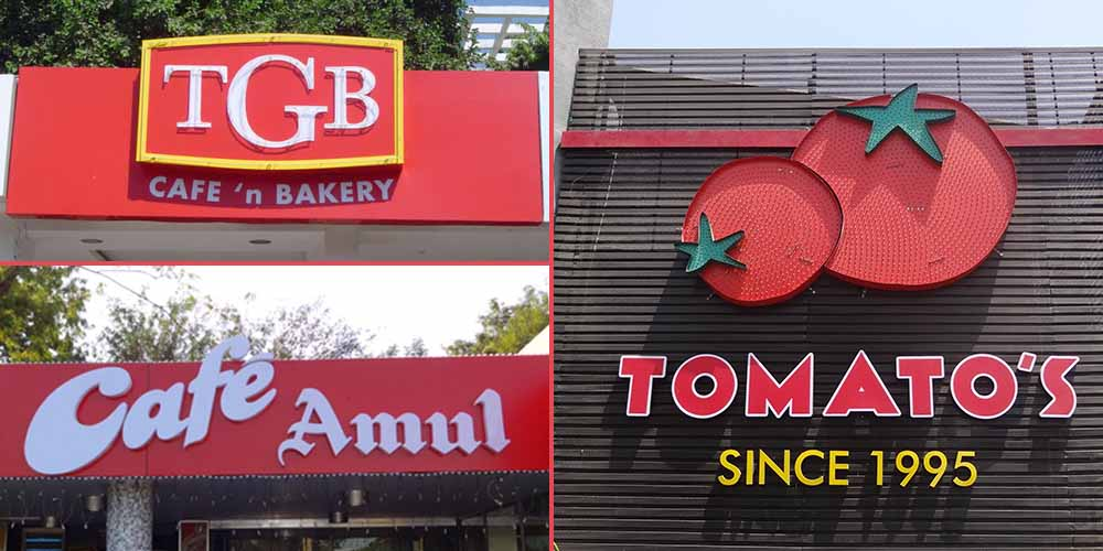 TGB Sign Board Ahmedabad, Amul cafe Sign Board Ahmedabad, Tomatos Sign Board Ahmedabad