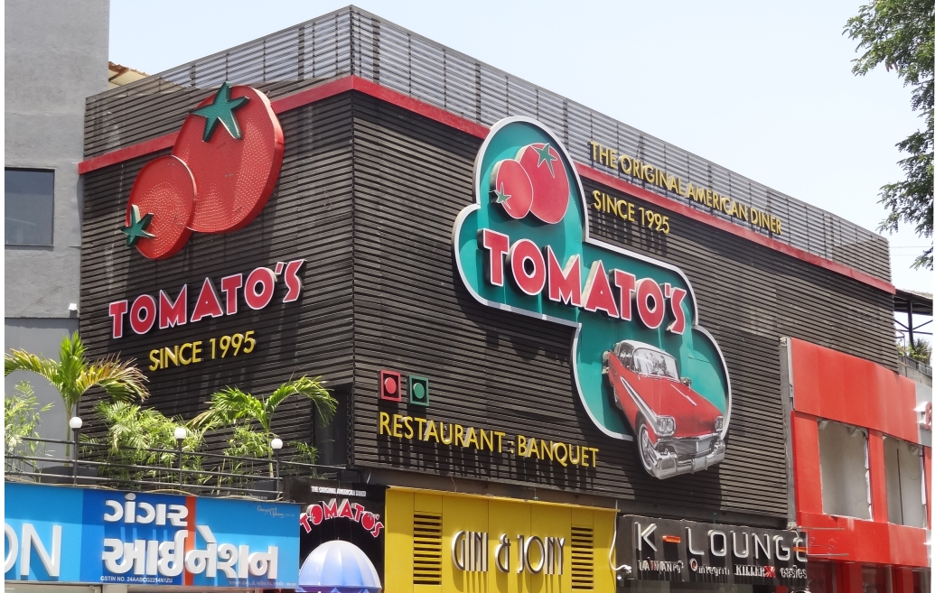The Facade of Tomato's at Rajkot, Gujarat